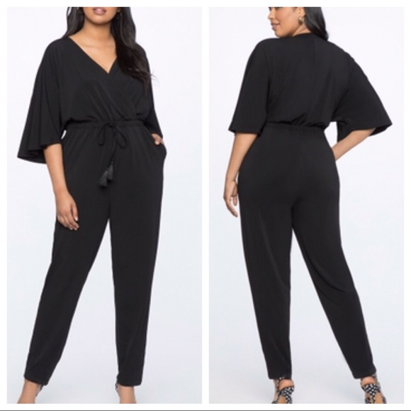 5fe6ee93186 Eloquii Pants - Eloquii Black kimono sleeve jumpsuit plus size